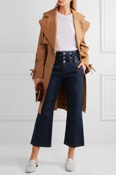 See by Chloé - Cropped Lace-up High-rise Flared Jeans - Dark denim - 30