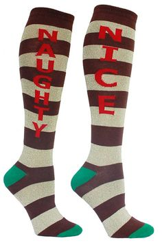 Brown & gold striped knee high socks with NAUGHTY in red lettering on one sock and NICE on the other. Unisex design: fits a women's shoe size 7 - men's 13.5.