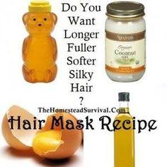 The Homestead Survival   Hair Mask Recipe – Longer Fuller Softer Silky Hair   http://www.shorthaircutsforblackwomen.com/coconut-oil-for-hair/