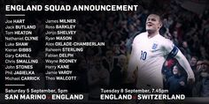 Roy Hodgson's 22-man squad for September fixtures against San Marino and Switzerland. http://the-fa.com/QFInT9