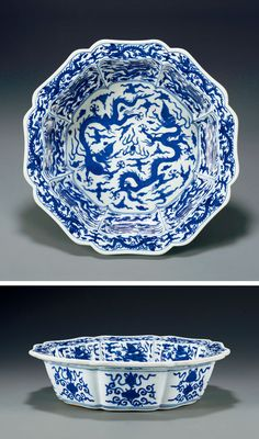 A RARE BLUE AND WHITE 'DRAGON' WASHER - From the Ming Dynasty (1368-1644)