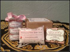 Mini Relaxing Rose Bath Set ~ Rose Infused Tea Light Candles ~ Bath Salts ~ Goat Milk Soap Set ~ Ritual Bath Salts ~ Relaxing Rose Scent by SummerlandBB