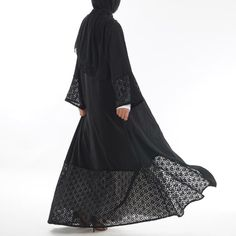 Nida and Lace Open Abaya provides a totally different way to look modest in a high-fashion design. Made from pure cotton lace fabric and wrinkle-free, gives a stunning look Possesses smooth Nida texture. Hijab Gown, Hijab Dress Party, Hijab Outfit, Abaya Fashion, Muslim Fashion, Fashion Dresses, Modern Islamic Clothing, Muslim Dress, The Dress