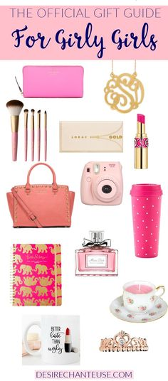 "Official Girly-Girl Gift Guide Need gift ideas for a women/teen/child that's a girly-girl? Check out ""The Official Girly-Girl Gift Guide"" for suggestions! Birthday Gifts For Teens, Christmas Gifts For Girls, Christmas Gift Guide, Christmas 2016, Holiday Gifts, Christmas Presents, Xmas, Wish Gifts, Cute Gifts"
