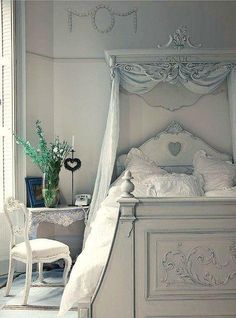 ice blue and white bedroom