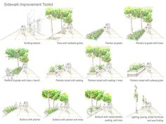 landscape-a-design:  urban design interventions: additions of trees, plantings, benches, curb extensions, lighting, sidewalk widening, and b...