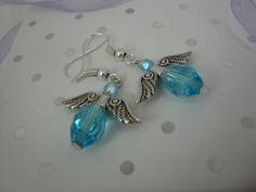 Crystal Angel Earrings beautiful blue by annagiles on Etsy, £4.00
