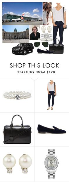 """""""Arriving back in Vienna + being picked up by a family friend, Macon Imre"""" by eiraofaustria ❤ liked on Polyvore featuring Lagos, Current/Elliott, Yves Saint Laurent, Ralph Lauren, Tiffany & Co., Rolex and Ray-Ban"""