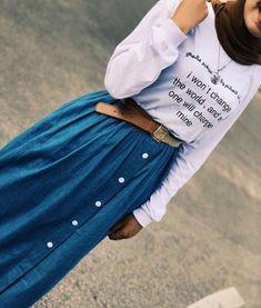 Hijab Wear, Hijab Outfit, Mode Hijab, Muslim Fashion, Denim Skirt, Fashion Dresses, Sporty, Classy, Stylish