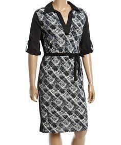 Love this Black & White Brushstroke Three-Quarter Sleeve Wrap Dress - Plus on #zulily! #zulilyfinds