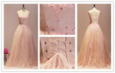 Tidetell.com Elegant Ball Gown Straps Long Tulle Prom Dress with Lace and Beads; ball gown prom dresses; pink prom dresses; tulle prom dresses; lace prom dresses; prom gowns