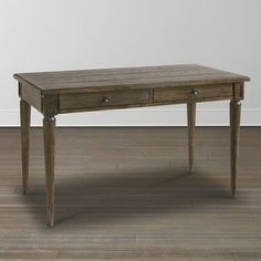 Meagan - Knotty oak desk with standard drawer on left side facing.  Right side facing drawer features a flip down front.