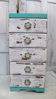 Side Table With Drawers Distressed Cottage Colors Nightstand Home Decor Anita…