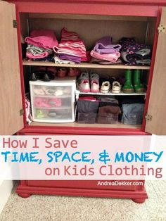 Andrea Dekker has a great post up on How to Save Time, Money, and Space on Kid's Clothing.  If you need some ideas for cutting costs and cutting down on the amount of kid's clothing you have at your house, head on over here to read it.  What ideas would you add to her list?