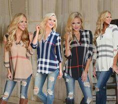 Casual T-shirt Fashion Trends Plaid Printed Slim V-Neck