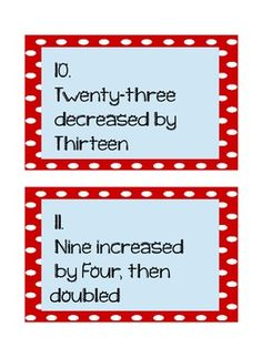 Here's a set of task cards for upper elementary students that requires them to write simple expressions that record calculations with numbers, and interpret numerical expressions.