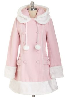 For the Winnipeg Coat in Pink. Snugly buttoned up in this luxurious pastel-pink coat, you head out into the chilly Winnipeg air for a night at the theater! And it will go nicely with the booties you pinned Pastel Fashion, Kawaii Fashion, Lolita Fashion, Cute Fashion, Fashion Outfits, Kawaii Dress, Kawaii Clothes, Kawaii Outfit, Moda Art Deco