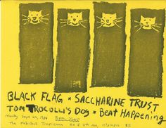 Black Flag, Saccharine Trust, Tom Troccoli's Dog & Beat Happening at The Fabulous Tropicana Sept 24th 1984