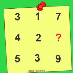 Brain teaser - Kids Riddles Logic Puzzle - kids riddle - Find the number for ? Riddles Logic, Brain Riddles, Logic Math, Logic Puzzles, Picture Logic, Funny Mind Tricks, Brain Teasers For Kids, Mind Games, Puzzles For Kids