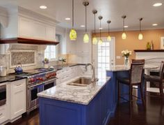 Spray Painting Kitchen Cabinets: Pictures & Ideas From HGTV Repainting Kitchen Cabinets, Kitchen Cabinets Pictures, Refacing Kitchen Cabinets, Kitchen Cabinet Colors, Kitchen Ideas, Blue Cabinets, Cheap Cabinets, Kitchen Paint, Cabinet Refacing