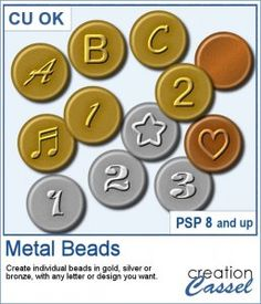Do you want to use some of those metal beads with letters on them for your scrapbook projects but can never find a set that suits you? Maybe you are looking for some accented characters and no set has them? Maybe you want a very specific font that is nowhere to be found? No more worry. This script will let you create any kind of set that is sure to match your project.  Compatible with PSP8 and up. Graphic Projects, Psp, Metal Beads, Script, Characters, Letters, Scrapbook, Tools, Suits