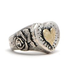 Browsing Store - Margaret Sullivan Heart and Rose Sterling Silver and Gold Ring