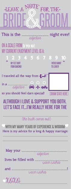 Wedding Note to Bride  Groom Printable File   by Cre8tivWedding,
