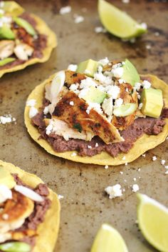 Easy and healthy chicken and black bean tostadas with crumbled cheese and avocado | www.ricottaandradishes.com