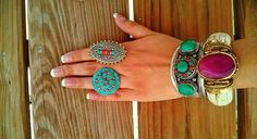 Big flower shaped Ring with Turquoisel Precious Stone, Tribal Nepalese.Tibetan Jewelry.Nepal Jewellery.Statement Rings.Turquoise stone rings...