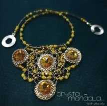beaded necklace, Ciondolo Perline, Beading Pendant, bead embroidery - by machegioia® - crystal-mandala.com dichroic cabochon