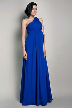 Royal Blue Empire One-shoulder Chiffon Long Maternity Bridesmaid Dress | LynnBridal.com