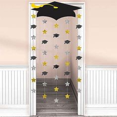 Graduation Decorations 60834 Amscan Make a memorable entrance when you walk through this Graduation Cap Doorway Curtain. Mount the lightweight cardboard graduation cap to the top of the doorway and let the strings with foil cutouts rain down. Outdoor Graduation Parties, Graduation Party Planning, College Graduation Parties, Graduation Banner, Graduation Party Supplies, Graduation Celebration, Graduation Decorations, Preschool Graduation, Graduation Caps