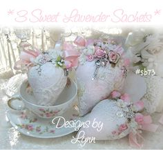 Pink & Sweet Lavender Filled Sachets 73 - Strawberry Delights- Designs By Lynn-pink, roses, shabby, chic, ruffles, Victorian, Vintage, Lynn,PINK,Lady,Strawberr, Sachets, Scent,