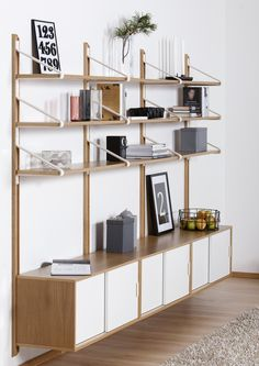 Link hylla ek/vit - Nilssons Möbler i Lammhult AB Interior Concept, Interior Design, Furniture Decor, Furniture Design, Simple Apartment Decor, Modular Shelving, Living Room Shelves, Office Interiors, Design Awards