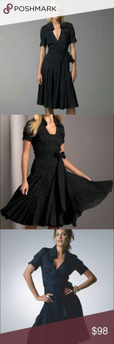 """Diane vonFurstenberg Black Taffy Eyelet Wrap Dress Diane von Furstenberg Black Taffy Eyelet Dress. Beautiful wrap dress with fitted bodice and full swirly skirt. Figure flattering fit with fitted bodice, pockets, cap sleeves, collar and wrap overlap. Long wrap belt at waist can be tied many ways to accent the waist giving way to the fully, flowy, swirly skirt of beautiful black eyelet. Fun and flirty and fully lined.  Measurements taken laying flat: 17"""" armpit to armpit, 14"""" waist that can…"""
