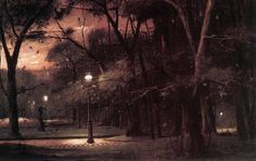 """Mihály Munkácsy, """"Evening in Parc Monceau"""" Oil on canvas, 130 x 208 cm Budapest, Hungarian National Gallery Great Paintings, Landscape Paintings, Landscapes, Oil Paintings, Budapest, National Gallery, Moving To Paris, Prince, Houses Of Parliament"""
