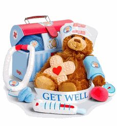 Send Get Well Bear to the USA, the gift includes: - Plush Teddy Bear; - Get Well Sugar Cookie; New Baby Gifts, Gifts For Kids, Doctor Play Set, Get Well Baskets, Homemade Gift Baskets, Homemade Gifts, Hospital Gifts, Get Well Soon Gifts, Baby Baskets