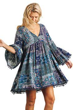 Umgee Print A Line Dress with Bell Sleeves and Pom Pom Trim on Hemline