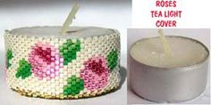 ROSES BEADED TEA LIGHT CANDLE COVER