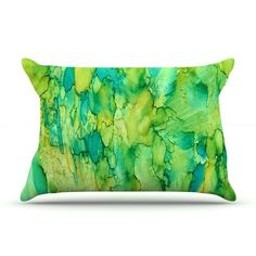East Urban Home Rosie Brown 'Going Green' Emerald Pillow Case