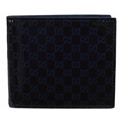 New Gucci 365466 Blue Patent Micro GG Guccissima Bifold Wallet, Men's