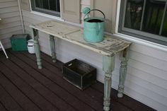 Found Table Legs + Old Chippy Shutter = Awesome Table! - Primitive and Proper