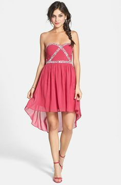 a. drea Strapless Embellished High/Low Dress (Juniors) available at #Nordstrom