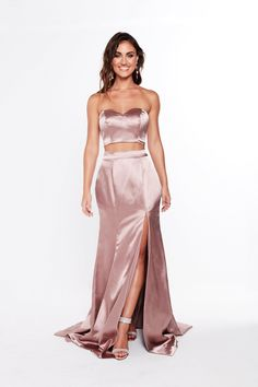 A&N luxe ivanna satin gown - mauve satin dresses Two Piece Bridesmaid Dresses, Prom Dresses Long Modest, Off Shoulder Bridesmaid Dress, Off Shoulder Gown, Prom Dresses For Teens, Dress Long, Satin Gown, Satin Dresses, Blue Evening Gowns
