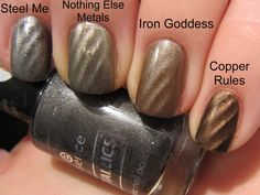 Magnetic Nail Polish swatches. Love the colors here! (From the Lacquerista blog)