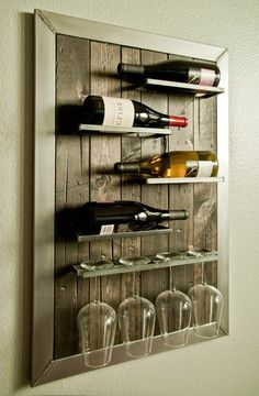 25 Creative Diy Wine Rack Wall Decor Ideas For Your Home, Office Or Bar - Page 12 of 21 - Modern Decoration Ideas Wine Rack Wall, Wood Wine Racks, Wine Glass Holder, Wine Wall, Wine Bottle Holders, Wine Bottles, Wall Wine Holder, Wine Rack Shelf, Wine Shelves
