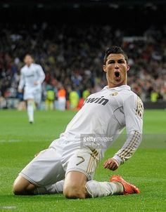 Cristiano Ronaldo of Real Madrid CF celebrates after scoring his team's second goal during the La Liga match between Real Madrid CF and Real Sporting de Gijon at Estadio Santiago Bernabeu on April 14, 2012 in Madrid, Spain.