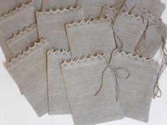 Linen gift bags set of 100 natural gray burlap por chiffonart