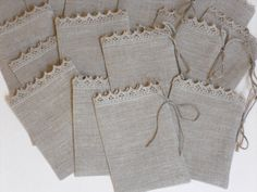 Gift bags set of 15 light gray rustic linen wedding favor bags candy bar bags linen and lace sachets