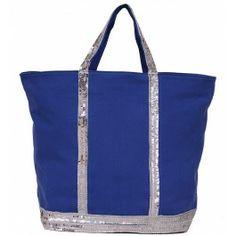 Sac Vanessa Bruno - Cabas Toile Bleu Paillette Argenté - Grand Prix : 65€ Sac Vanessa Bruno Cuir, Gym Bag, Tote Bag, Bags, Shopping, Occasion, Grand Prix, Ideas, Fashion